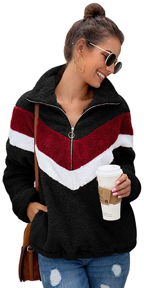 Puedo Womens Autumn Winter Long Sleeve Half Zipper Sherpa Sweatshirt Fuzzy Fleece Pullover Warm Jacket Coat Outwear Coat (Black,XL)