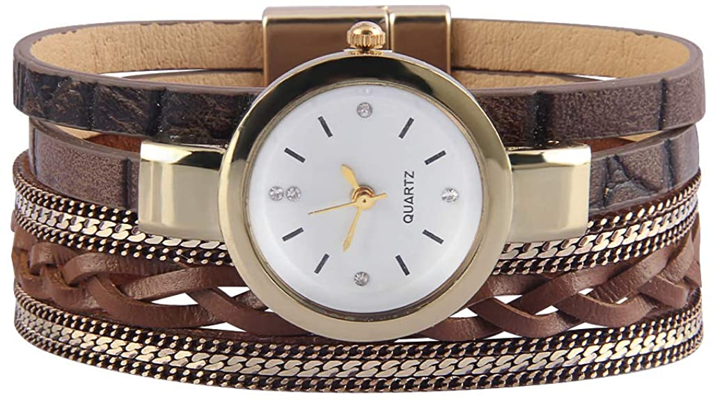 Bfiyi Women's Leather Watch Wrap Around Bracelets Casual Quartz Wrist Watch Leather Cuff Bracelet Magnetic Gold Plated Watches for Wife, Ladies, Sister