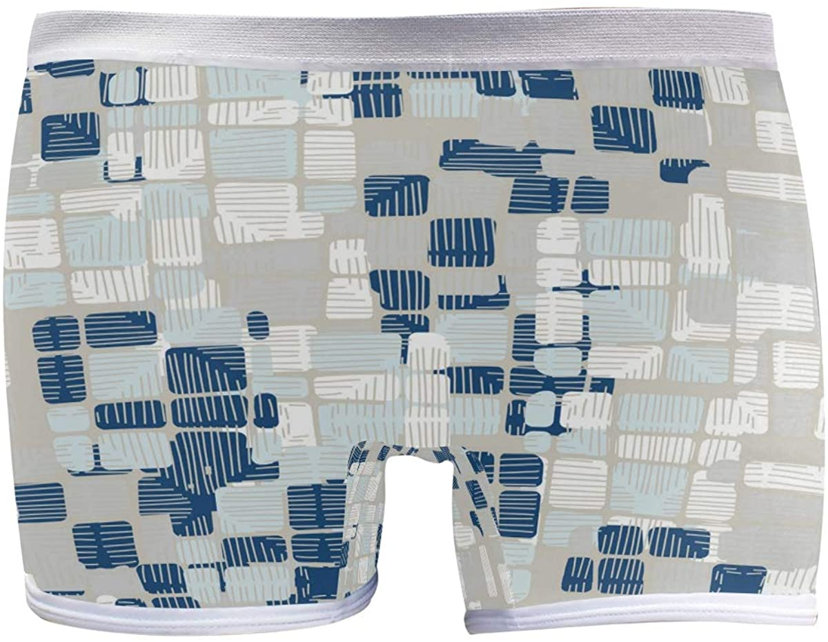 SLHFPX Womens Underwear Boxer Briefs Blue and White Plaid Pattern Ladies Breathable Boyshort Panty