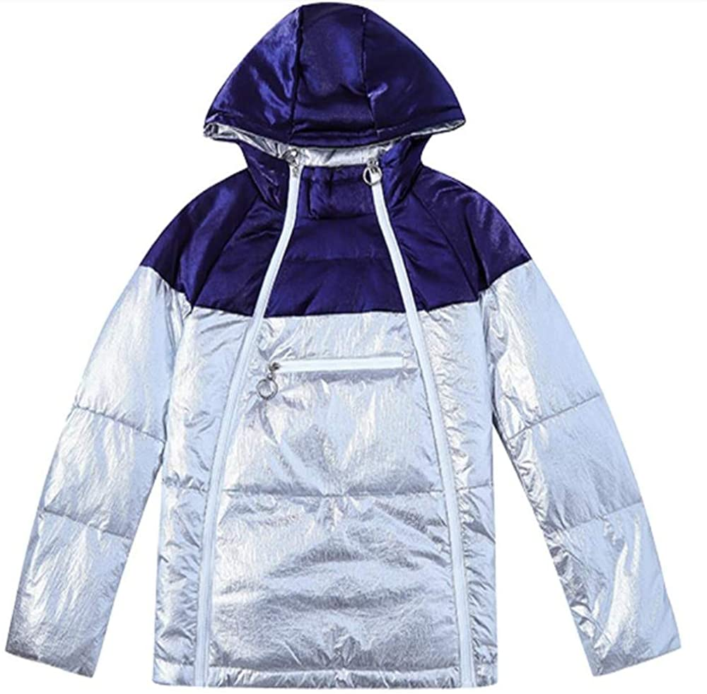 Dotoo Womens 80% White Duck Down Winter Down Jacket Loose Short Silver Shiny Hooded