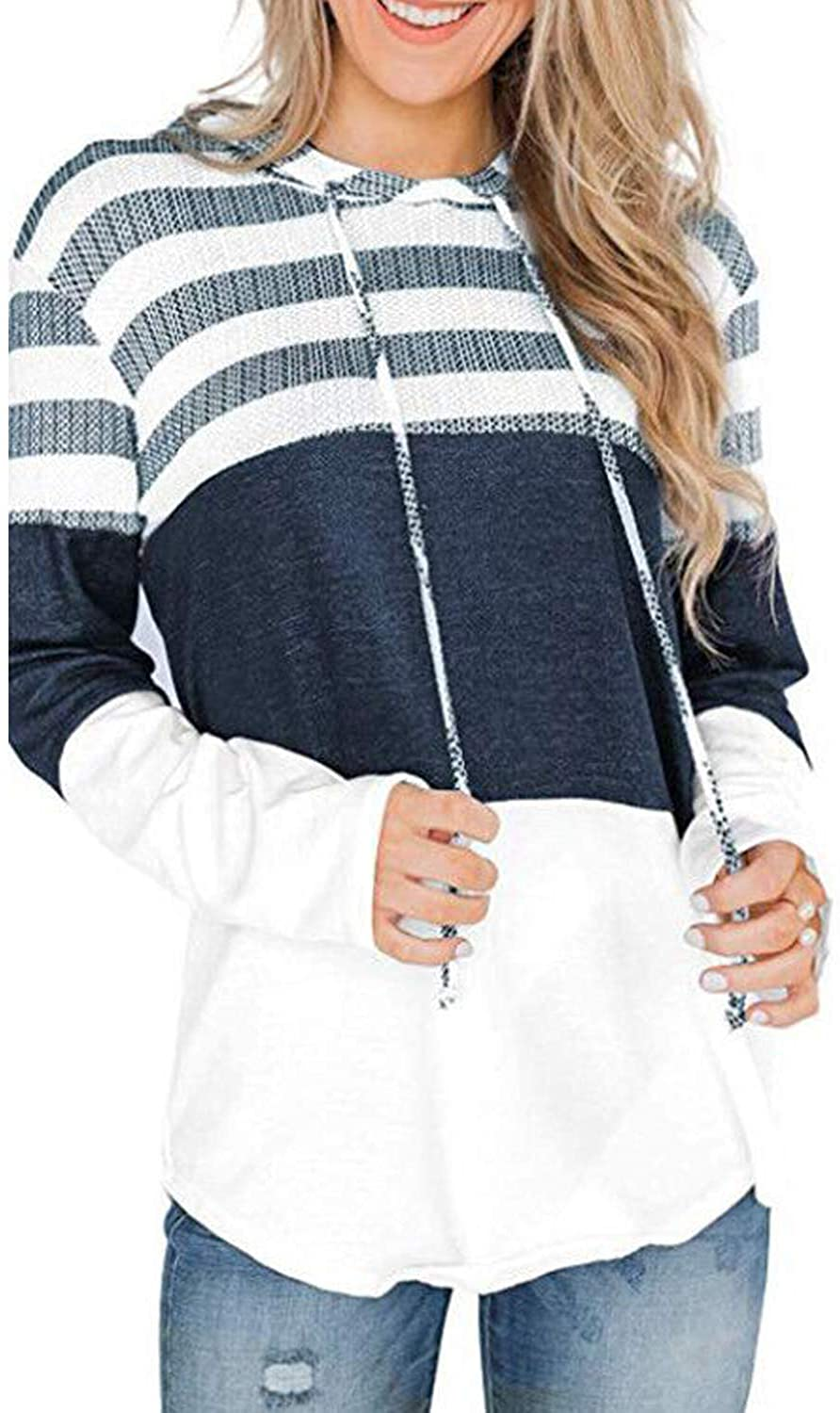 YuuBO Women Long Sleeve Sweatshirt Hoodie Casual Striped Color Block Knitted Pullover