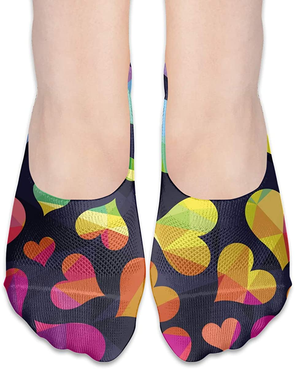 No Show Socks For Women Polygonal Rainbow Heart Low Cut Sock Liners Invisible Socks