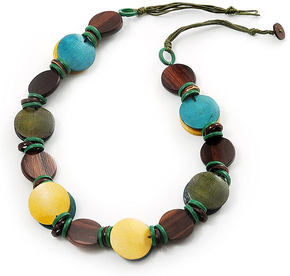 Avalaya Button Shape Wood Olive Cotton Cord Necklace (Teal, Green, Brown & Yellow) - 62cm Length