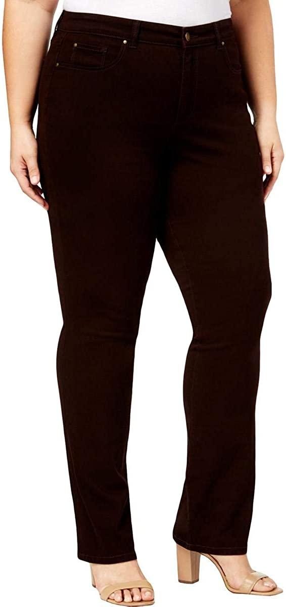 Charter Club Womens Plus Lexington Mid-Rise Five-Pocket Straight Leg Jeans