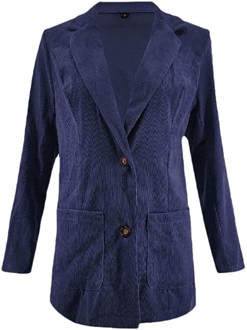 Wndxfhdscd Women's Lapel Solid Jacket Coat Casual Long Sleeve Button Up Pocket Coat