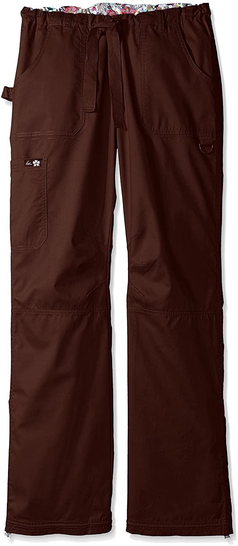 KOI Women's Lindsey Ultra Comfortable Cargo Style Scrub Pants Sizes, Espresso, X-Large/Tall