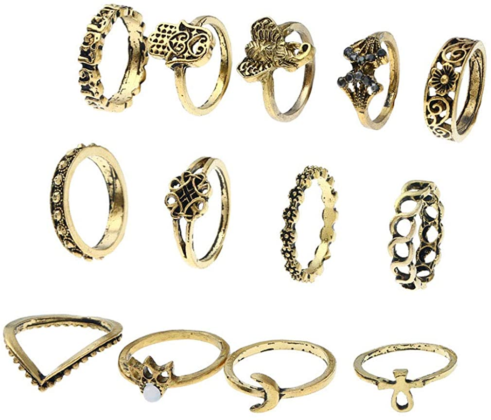 YAZILIND Plated Joint Knuckle Stackable Ring Women Elephant Owl Flower Hollow Carving Boho Retro Ethnic Vintage Ring