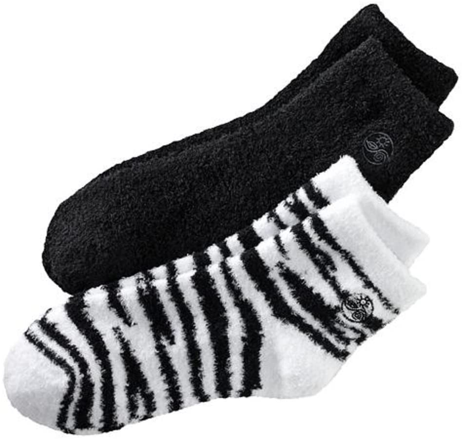Earth Therapeutics Aloe Socks, 2 Pair Per Package (Black and Zebra)