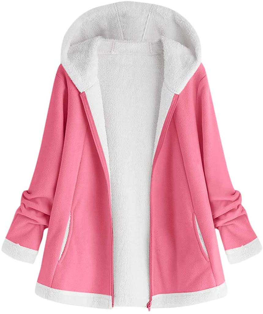 HGWXX7 Womens Autumn and Winter Zipper Closed Jackets Outwear Long Sleeve Hoodie Plush Hooded Coats