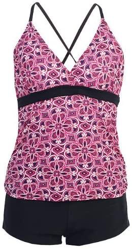 2 PC. Ladies Arabesk Pink Tankini Swimwear Set