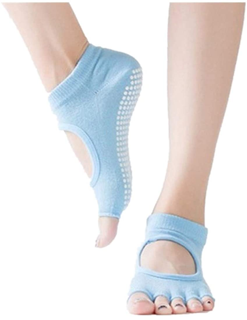 LENXH Non-Slip Fingerless Socks Backless Five Toe Socks Solid Color Yoga Socks Fashion Casual Socks Simple Socks