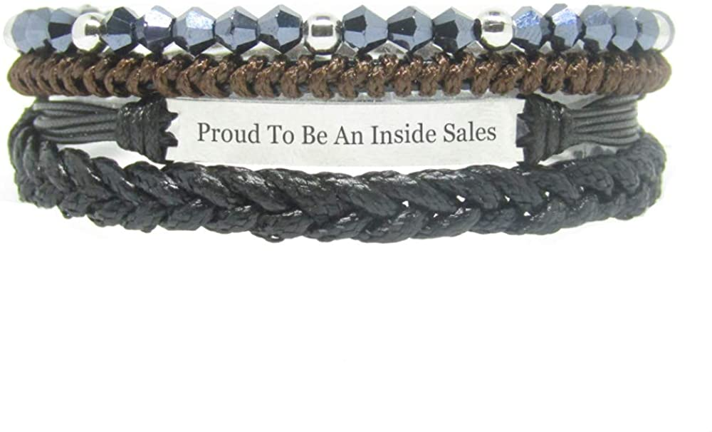 Miiras Job Engraved Handmade Bracelet - Proud to Be an Inside Sales - Black 6 - Made of Braided Rope and Stainless Steel - Gift for Inside Sales