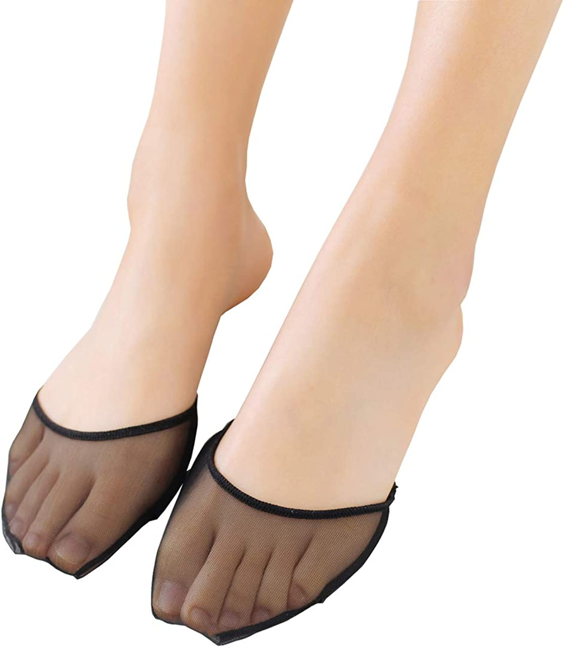 Truevalue Women's 6 Pairs Sheer Toe Cover with Cushion Non-Skid Sole