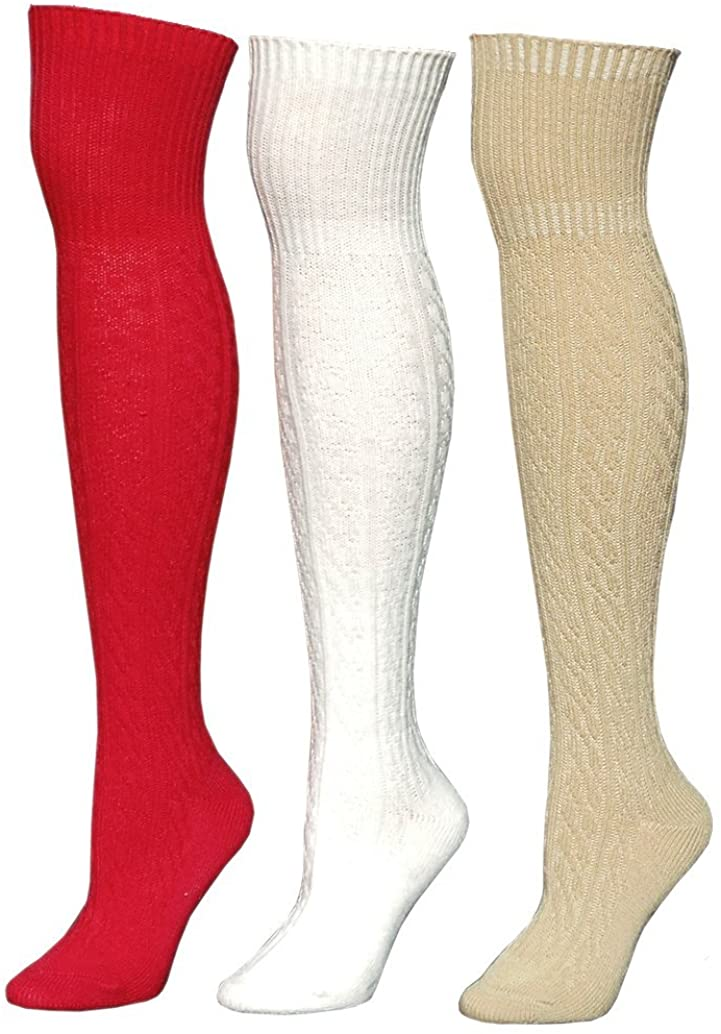 Julietta Cable Knit Womens Thigh High Socks (One Size, 3 Pack Mixed A)