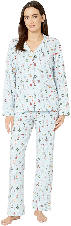 BedHead Pajamas Long Sleeve Classic Notch Collar Pajama Set Deck The Halls/Blue SM (US 4-6)