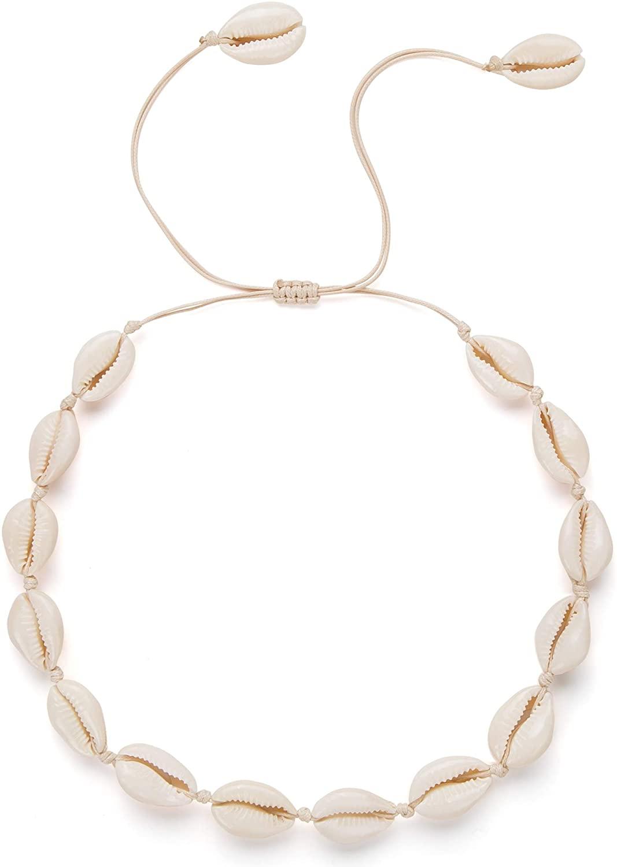 Nackiy Handmade Sea Shell Necklace Choker for Women Summer Adjustable Natural Shell Collar Necklace