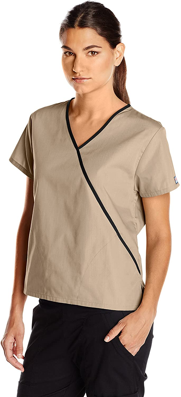 CHEROKEE Women's 4800 Mini Mock Wrap Scrub Top, Khaki, XXXXX-Large