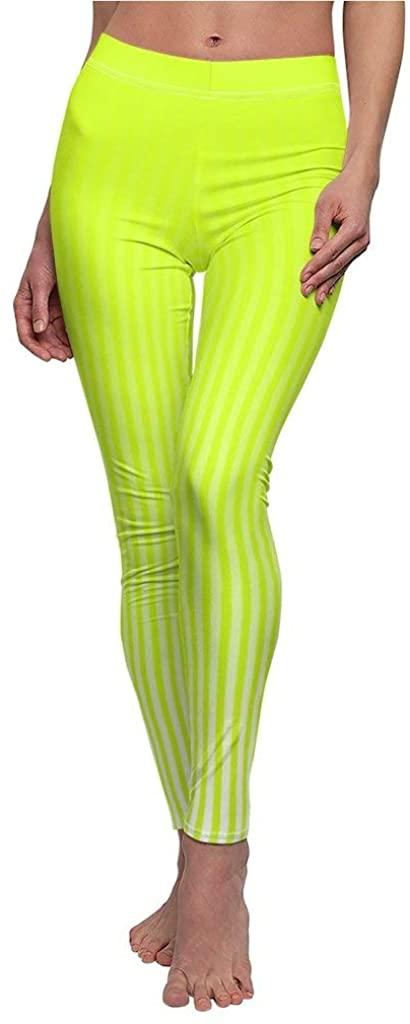 Nordix Limited Stripes Electric Lime Yoga Pants Women's Cut & Sew Casual Leggings