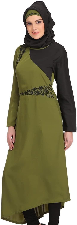 MyBatua Henna & Black Modern Muslim Women Stylish Party Wear Tunic & Kurti KRF-132