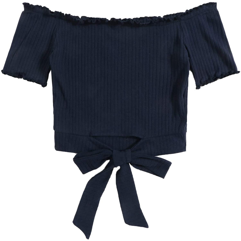 Floerns Women's Rib-Knit Off Shoulder Short Sleeve Tie Front Tee Top