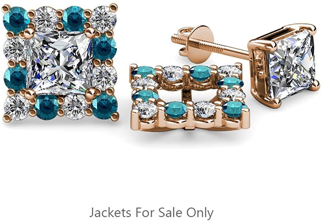 TriJewels Blue & White Diamond (SI2-I1,G-H) Halo Jacket for Princess Cut Stud Earrings 0.72ctw 14K Gold