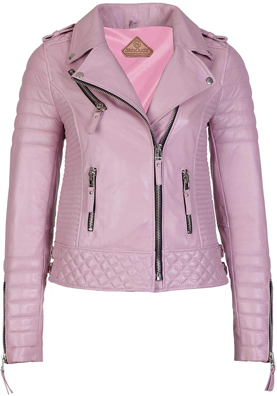 SKINOUTFIT Womens Stylish Genuine Lambskin Motorcycle Biker Leather Jacket Pink