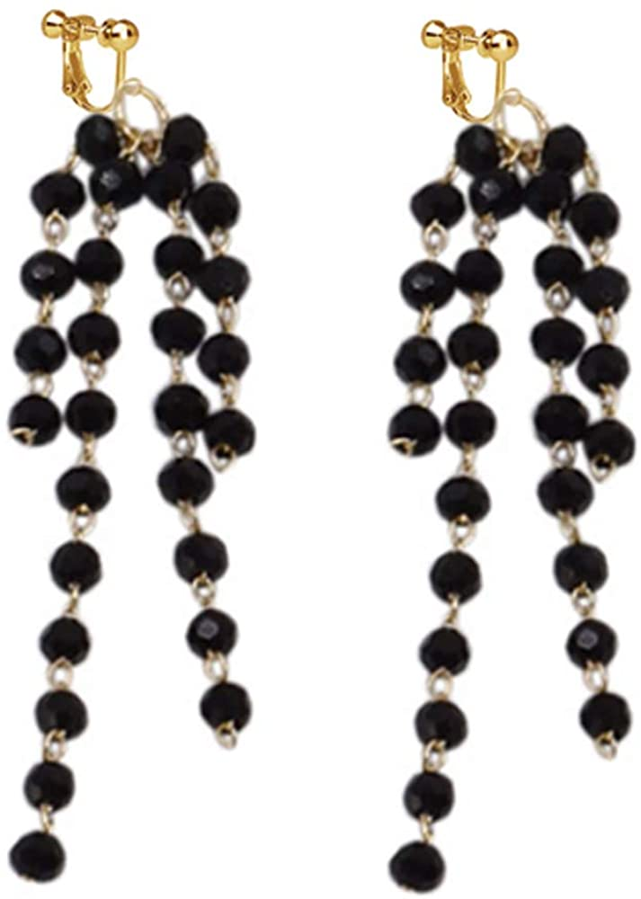 Beads Clip on Tassel Earrings Crystal Drop Long Dangle No Piercing Gifts