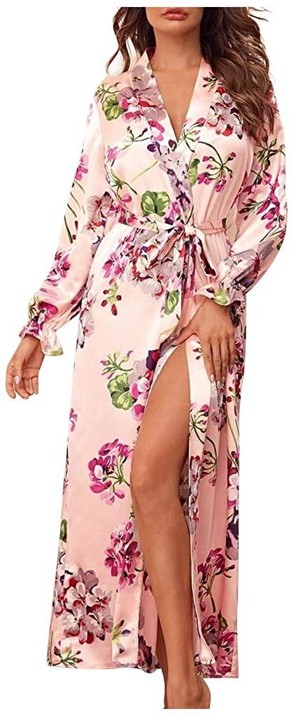 Huifa Womens Floral Kimono Robe Long Nightgowns Sleepwear Bride Bridesmaid Bathrobe Lingerie Plus Size