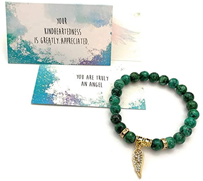 Smiling Wisdom - Angel Wing Stretch Stone Bracelet - Appreciation Kindhearted Thank You Keepsake Greeting Card - Friendship – Green Rain Flower Stones