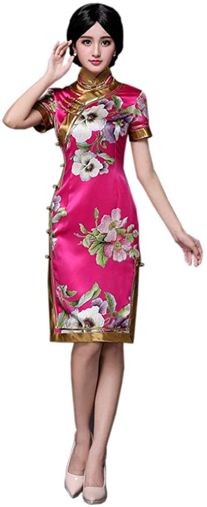 HangErFeng Qipao Silk-Printed Knee-Length Cheongsam with Chinese Elemental Magnolia Pattern and Short Sleeve Cheongsam