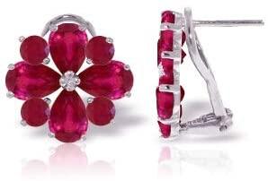 14K White Gold Clip Earrings Rubies