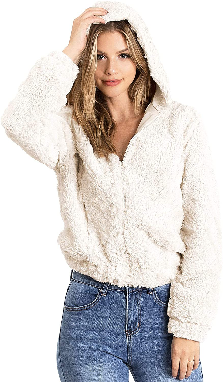 Ambiance Women's Soft Faux Fur Hoodie Jacket