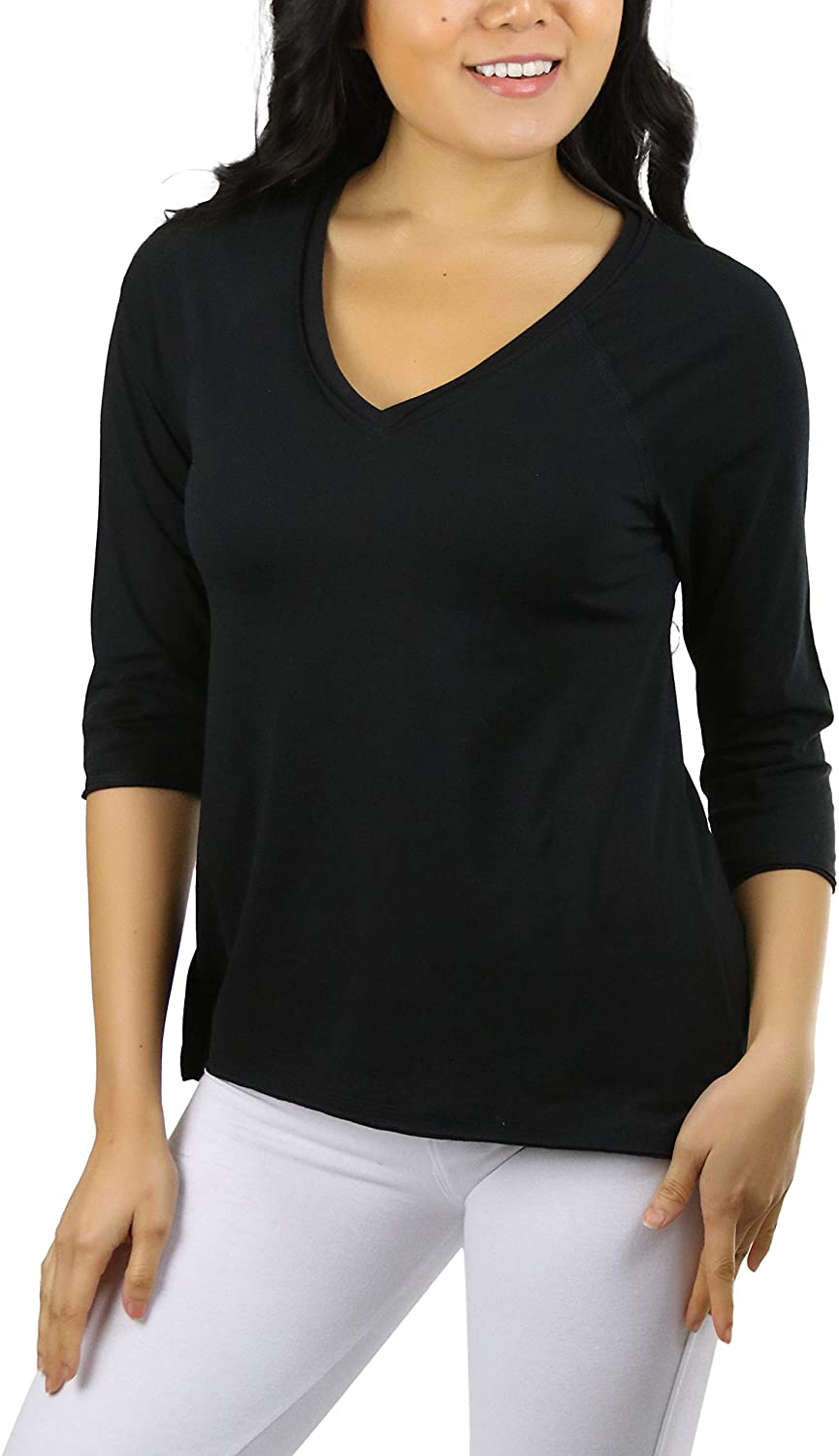 ToBeInStyle Women's Cotton Relaxed Fit V-Neck Raw Edge Raglan ¾ Sleeve Pullover