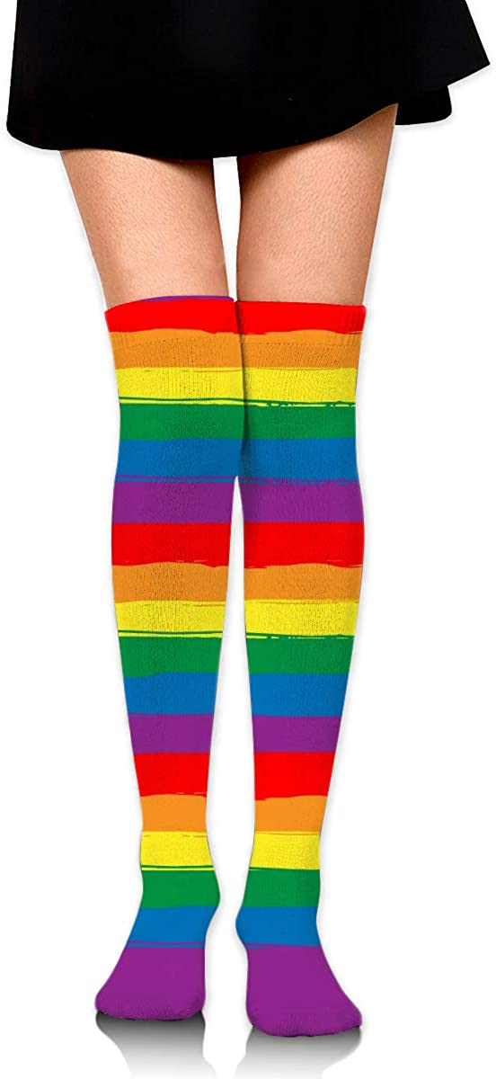 Dress Socks Rainbow Striped Lgbt Flag Gay Pride Long Knee Hose Tights Stockings