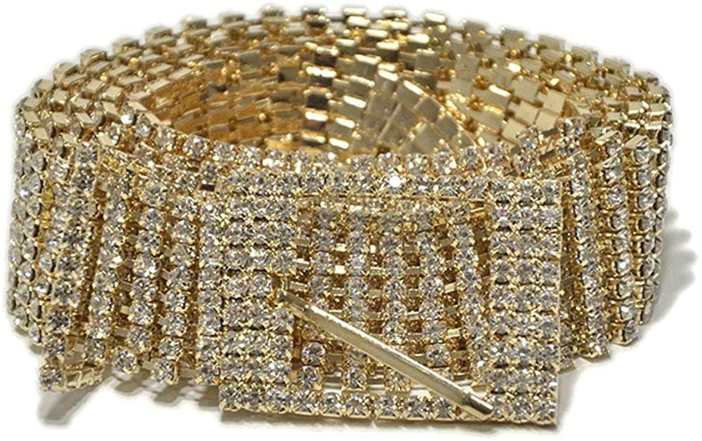 Women Crystal Rhinestone Chain Waist Buckle Belt Luxury Sparkling Sash Waistband Accessory