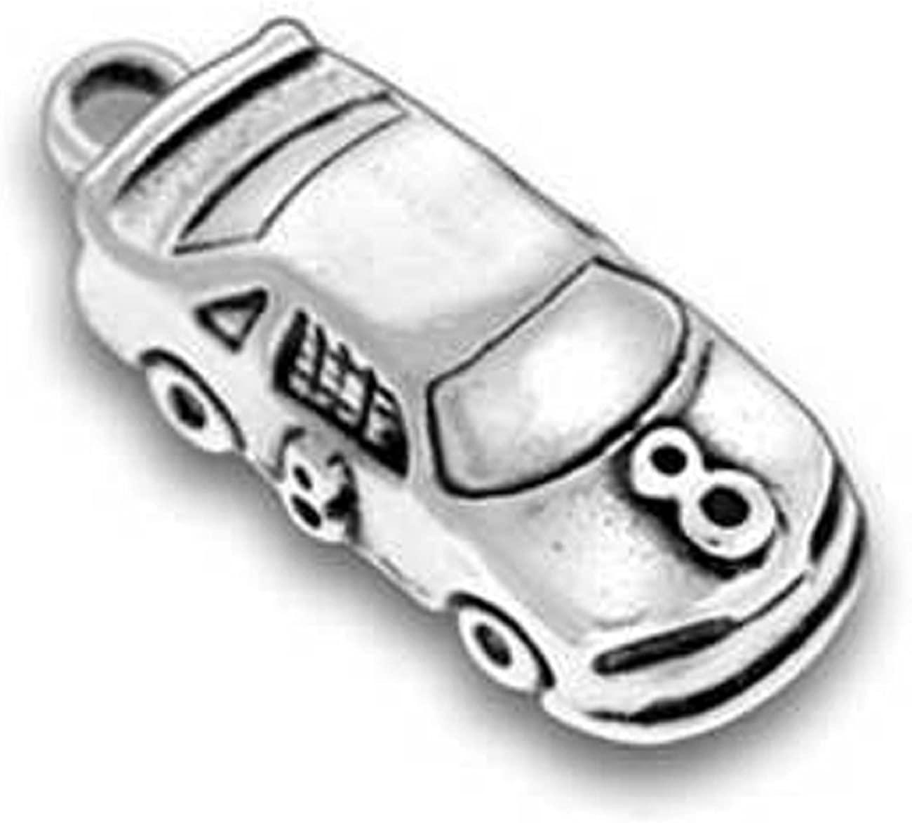 Sterling Silver 3D #8 Race Car Dangle Charm Bead For Bead Charm Bracelet