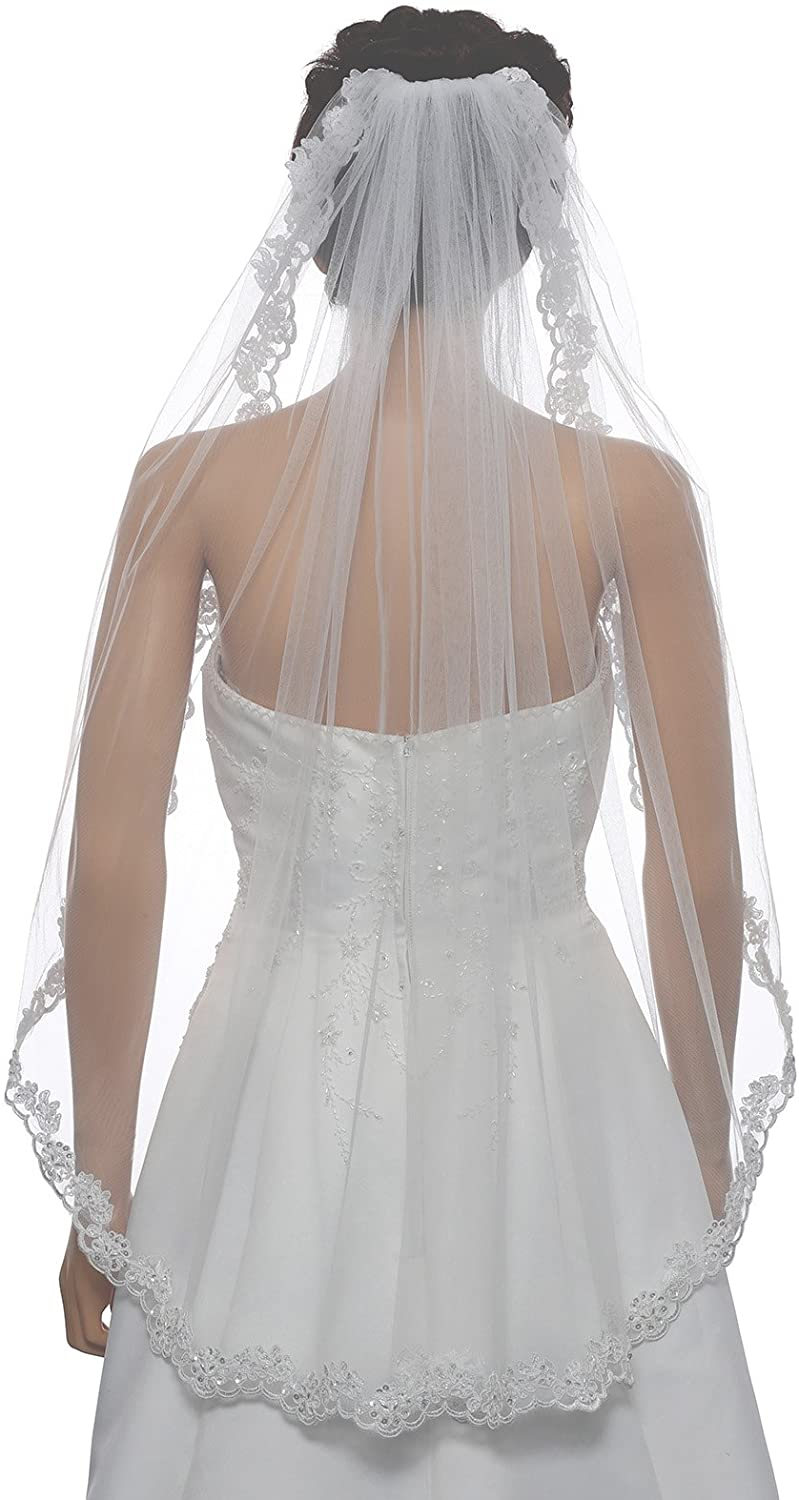1T 1 Tier Floral Scallop Embroided Lace Pearl Veil Fingertip Length 36