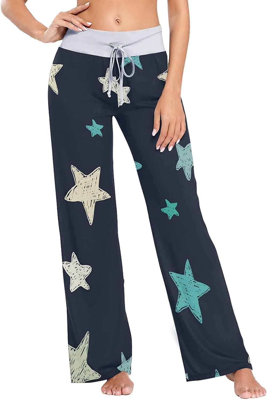 LAZEN Women's Wide Leg Pajama Pants Casual Comfy Drawstring Sleep Trousers XS Doodle Textured Stars
