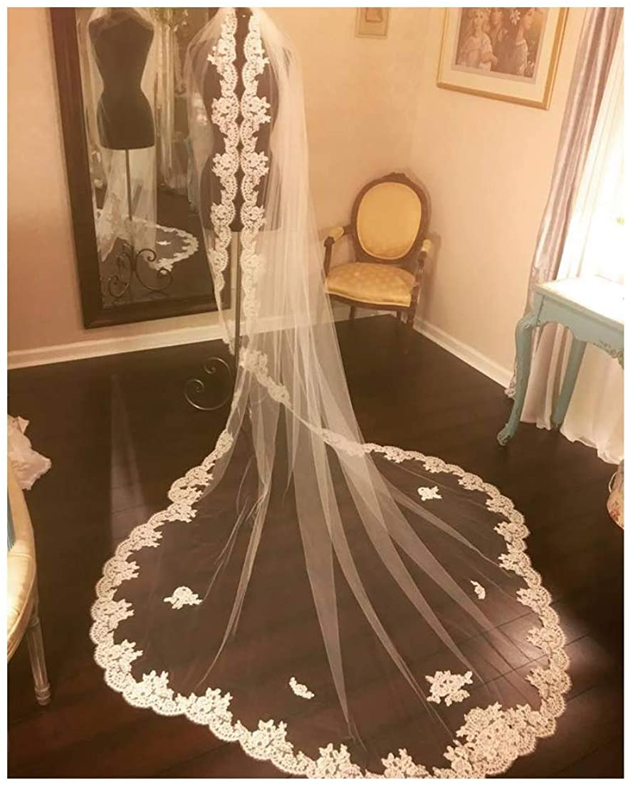 Fenghuavip Lace Edge Wedding Veil Cathedral Length 1 Tier for Bride with Comb