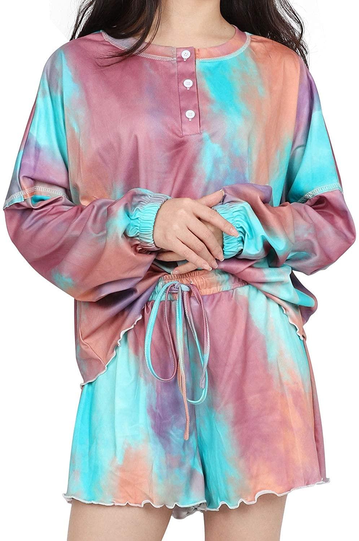 Women Tie Dye Printed Pajamas Set Casual Two-Piece Sleepwear for Juniors Ladies Girls