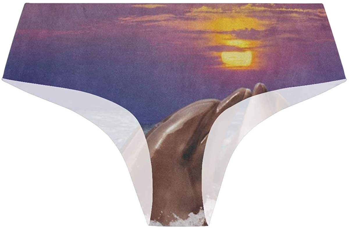 Sunset Ocean Sea Dolphin Womens Stretch Seamless Underwear Laser Cut Bikini Panties