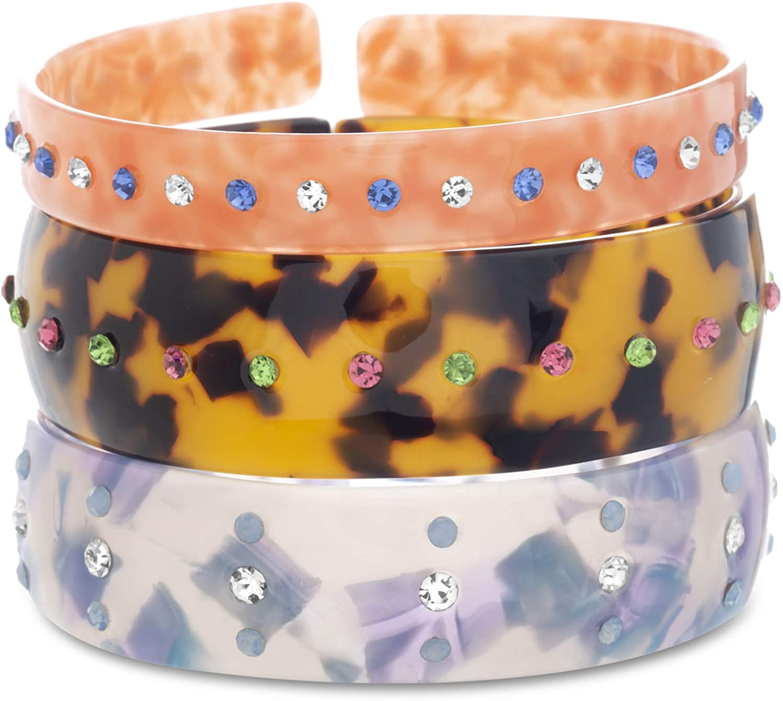 Steve Madden Rhinestone Multi Color Simulated Shell Resin Cuff Bracelet for Women 3 Pair Set