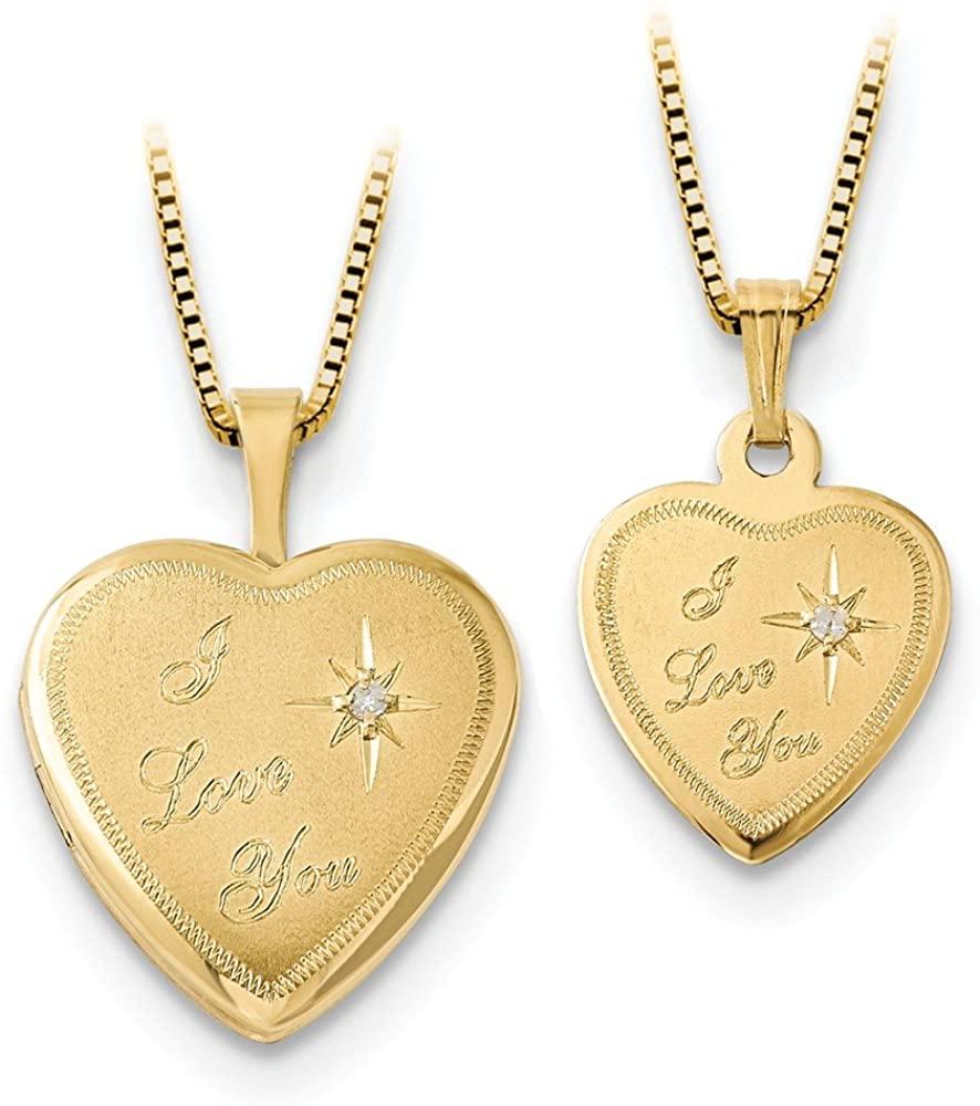 14K 16mm Diamond I Love You Heart Locket / 12mm Gold-plated SS Pendant Charm (.1 cttw.)