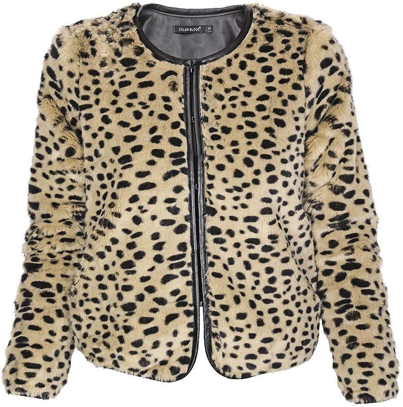 C BLOCK Jalia Leopard Fur Jacket