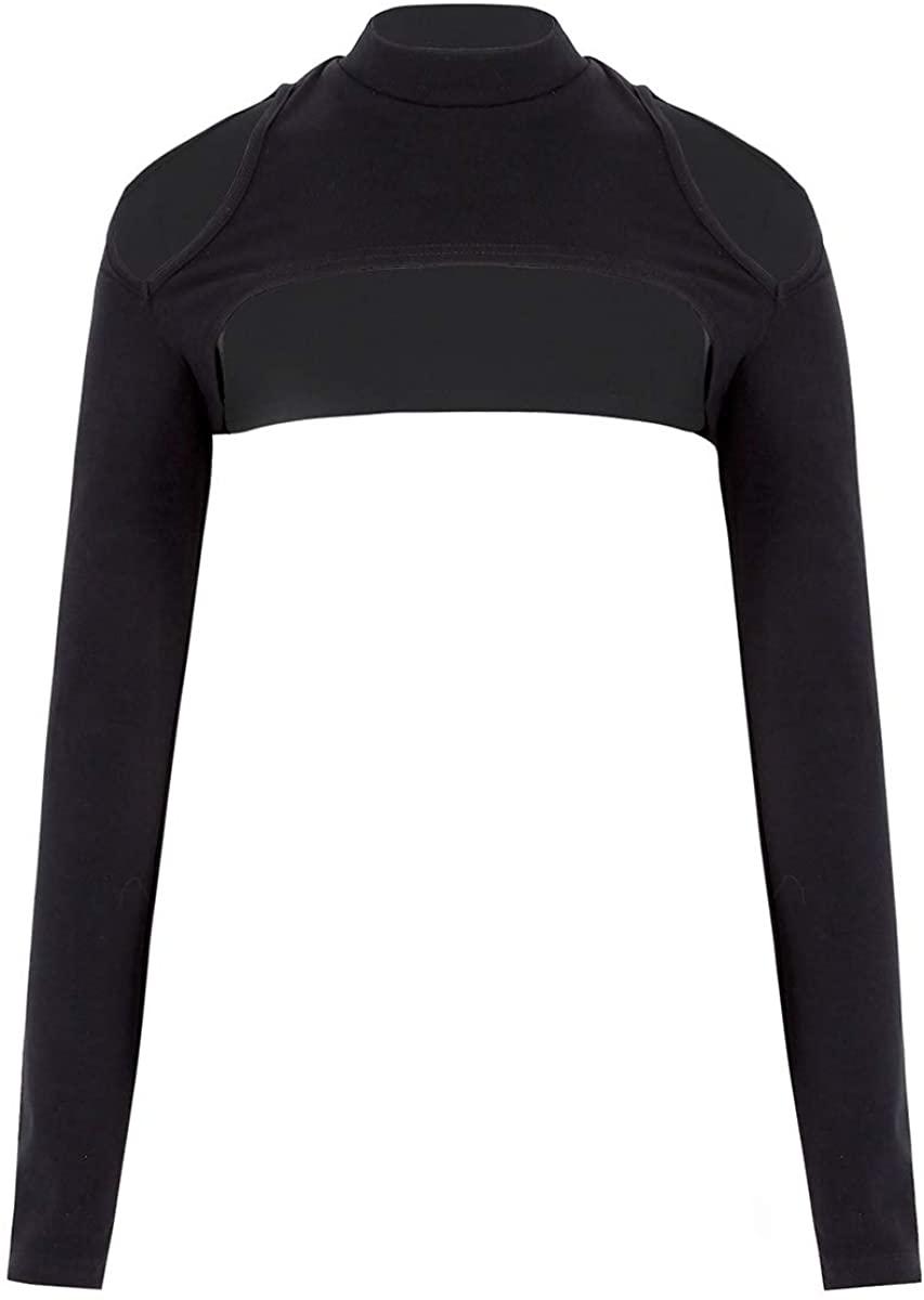 TiaoBug Womens Bolero Shrug Hollow Out Shoulder Long Sleeves Open Cropped Cardigan