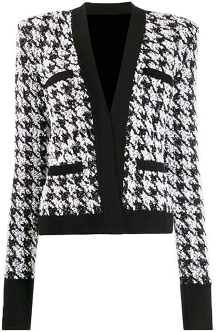 HYID Baroque Designer Jacket Women's Shawl Collar Shimmer Houndstooth Tweed Jacket