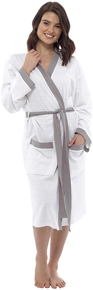 Lora Dora Womens 100% Cotton Waffle Bathrobe Contrast Trim White/Grey Small