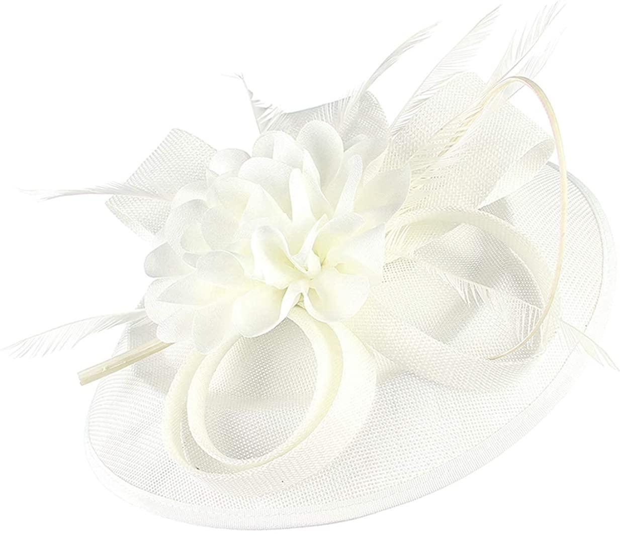 GEMVIE Women Elegant Fascinator Pillbox Hat Bridal Wedding Flower Feather Headband Hair Clips for Cocktail Royal Ascot