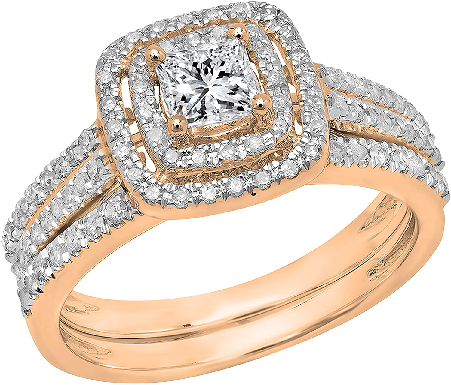 Dazzlingrock Collection 0.95 Carat (ctw) Princess & Round White Diamond Halo Style Bridal Engagement Ring Band Set 1 CT, Available In 10K/14K/18K Gold