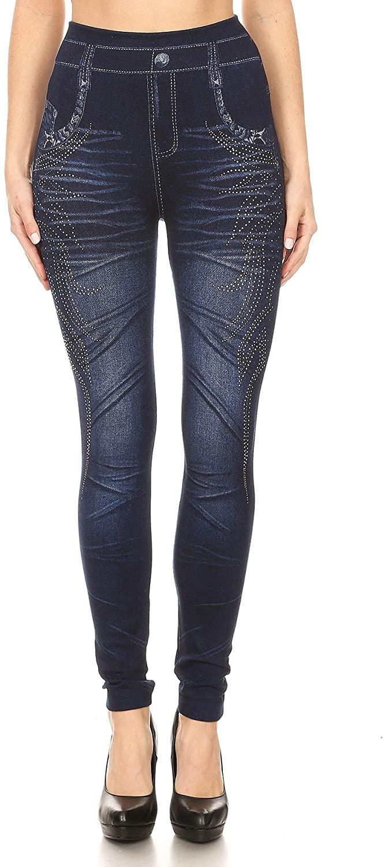Women's Denim Printed Faux Jeans Seamless Full Length Leggings with Rhinestone (Blue 4)